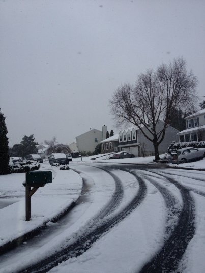 My street under one inch of snow.