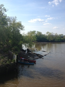 Canoes are available for rental.