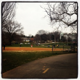 Baseball game at Bluemont Park.