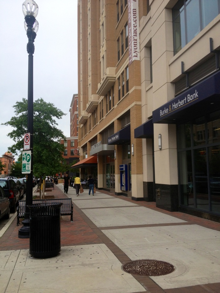 The town square look that characterizes the Clarendon neighborhood.