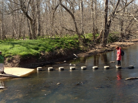 A stone creek crossing at the most popular section of the stream valley.