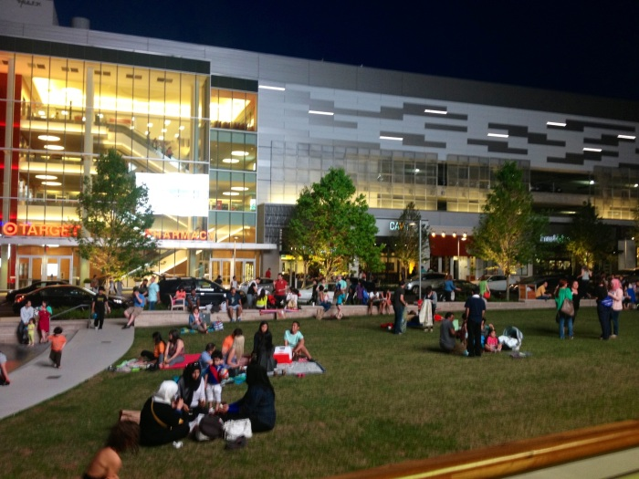 It's a little blurry but you can see people enjoying an outdoor movie in Strawberry Park.