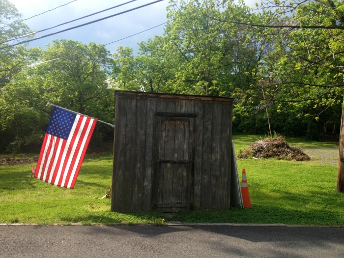 A patriotic shed in Old Centreville.