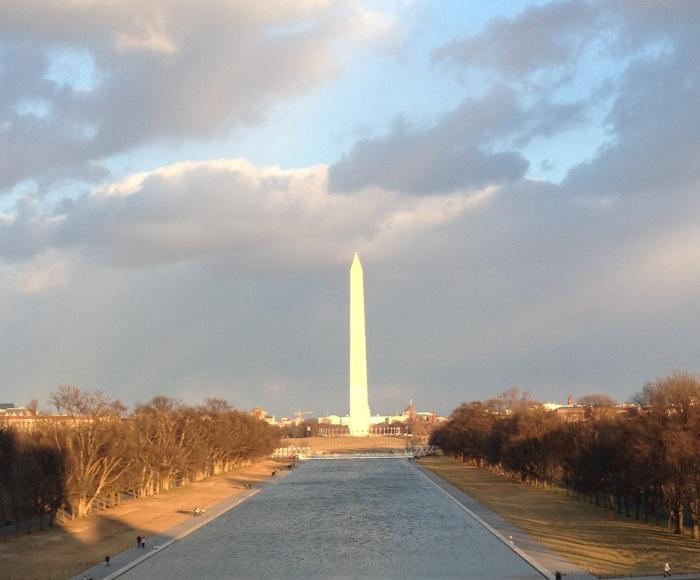 Washington Monument on an overcast winter day.