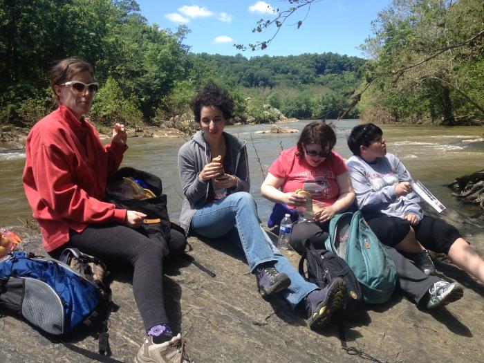 Enjoying a picnic on the Potomac.