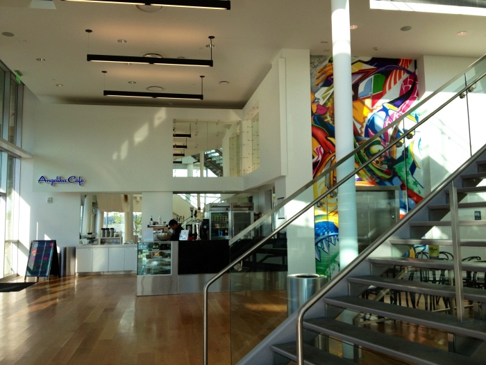 """The lobby and cafe at the Anjelika theater. Here you can buy high end beer and light fare like """"quinoa salad."""""""