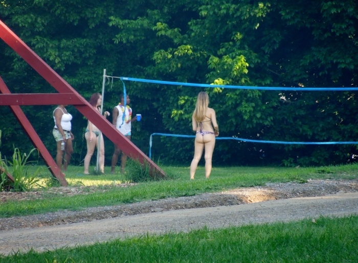 Because there was a girl playing volleyball in a thong! At a family campground. My friends felt it was inappropriate in America. I was mostly jealous.