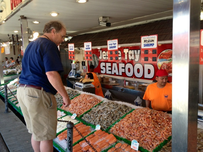 Perusing the shrimp selection.