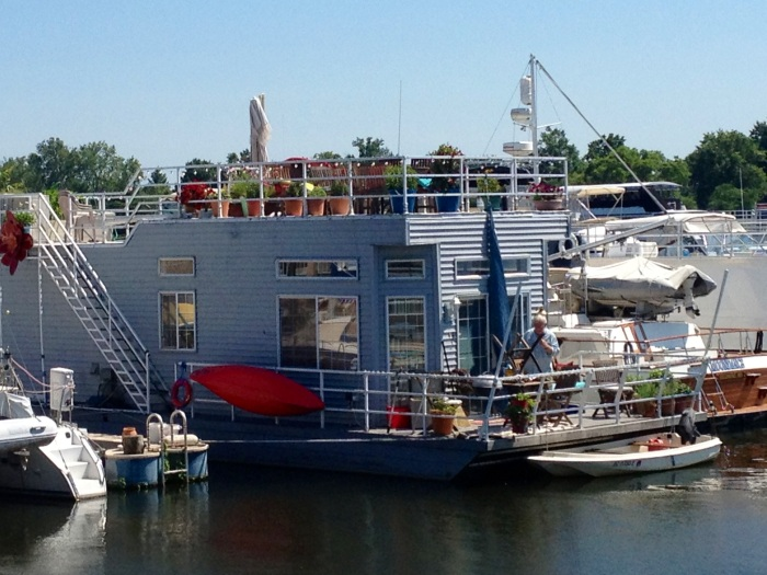 A cool-looking houseboat.