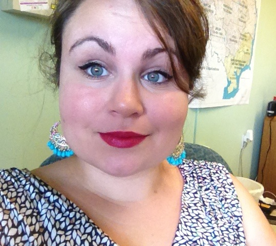 Me, wearing red lipstick.