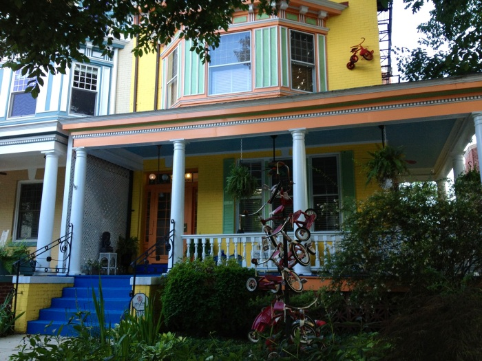 Colorful houses in Mount Pleasant. If you look closely on the right, there's a tricycle monument.
