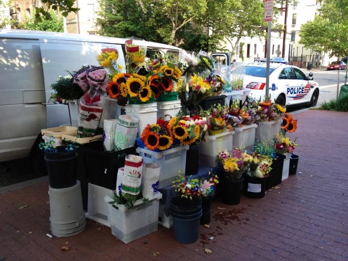 Street flower vendor.