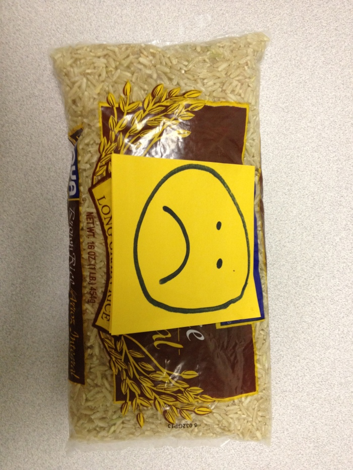 Sad, lonely brown rice, upside down.