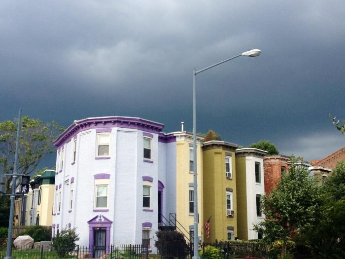 Rowhouses and stormy skies near U-Street.