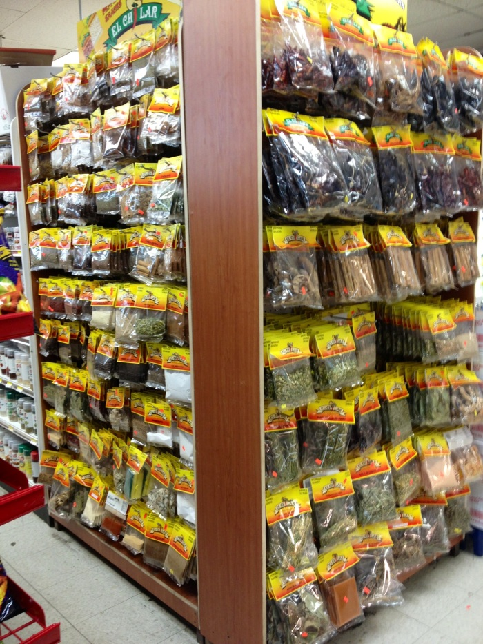 Spices and herbs at Culmore Supermarket.