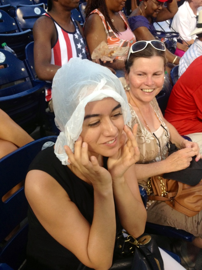 My cousin had just got her hair did so she had to keep that under wraps.