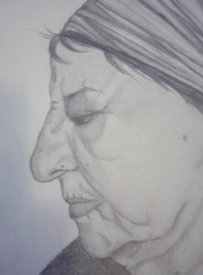 An extremely unflattering profile view of my grandma. She never actually wears bandanas, but I got lazy about sketching her hair.