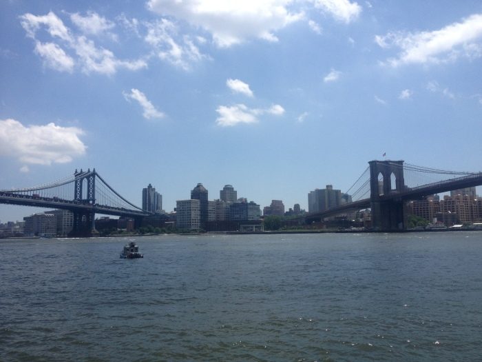 A view of the Manhattan and Brooklyn bridges from lower Manhattan.