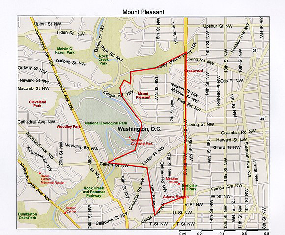 Mount Pleasant is adjacent to Columbia Heights and Adams Morgan and is near the Zoo and Rock Creek Park.