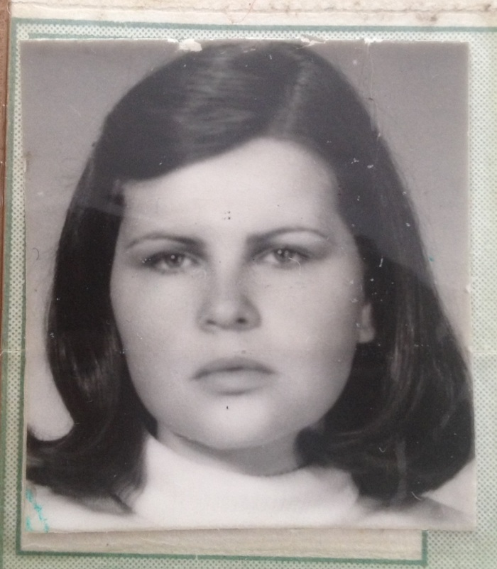 My mom in 1978 around age 20. This was her college I.D card at el Externado de Colombia.