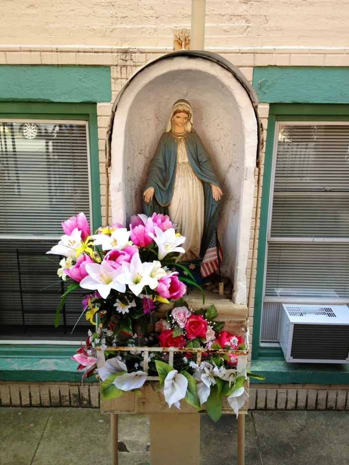 A virgin Mary in a Hoboken home.  My friend (and hostess) Courtney was telling me that Frank Sinatra is from Hoboken and the town was once home to a large Italian community, which is why you see a lot of religious icons.