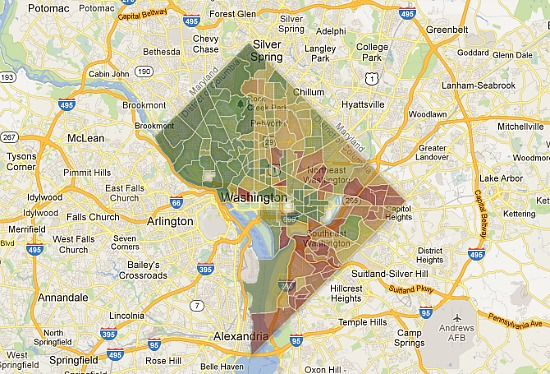 """Apparently, """"pure green""""  indicates a neighborhood with an income of at least $134,000 and """"pure red"""" indicates a neighborhood with an income under $22,500."""