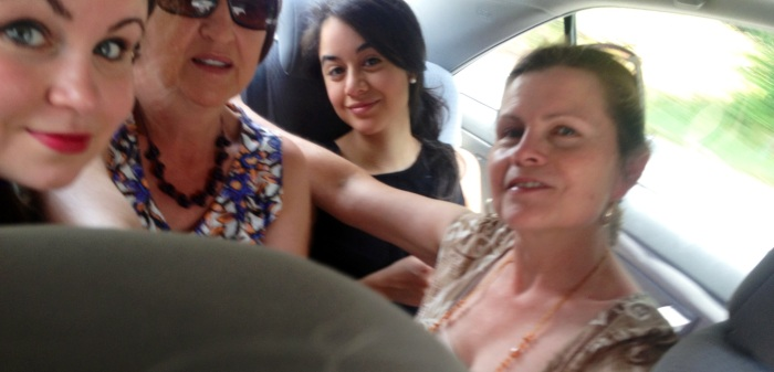 Here we are cramped like sardines in the Camry. I call this Latin-style traveling.