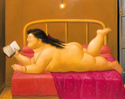 Woman reading by Fernando Botero.