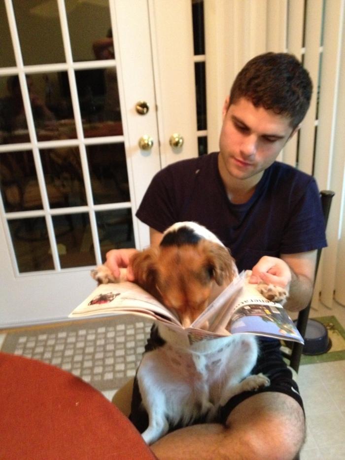 Alfie reading.
