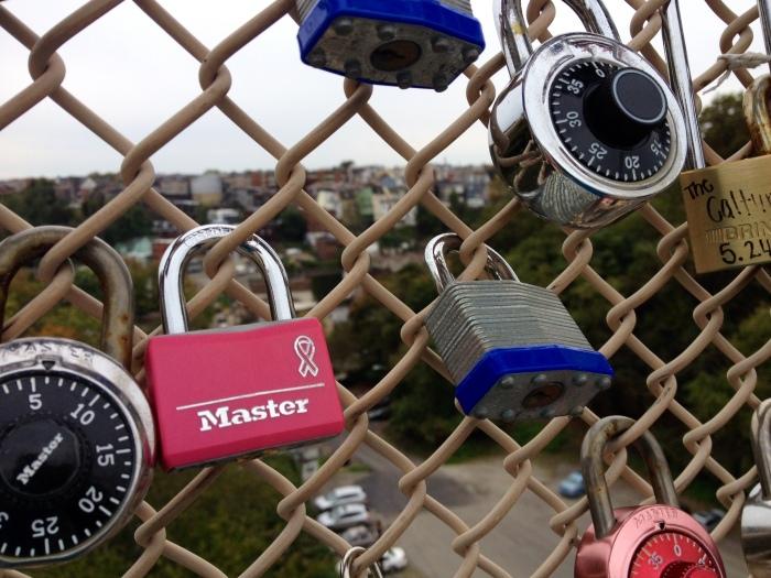 Love locks on a Pittsburgh bridge.