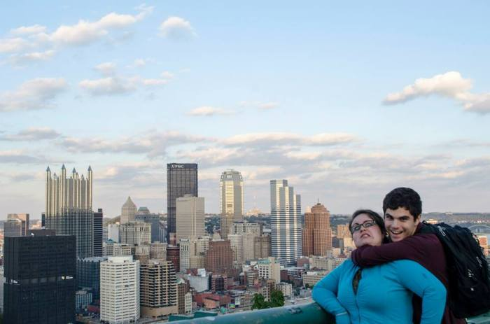 A lovely picture of my brother and I...and the Pittsburgh skyline.