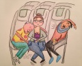 Flying when you have the middle seat isn't any fun. Here I am on the way to visit a friend in Hartford, CT.