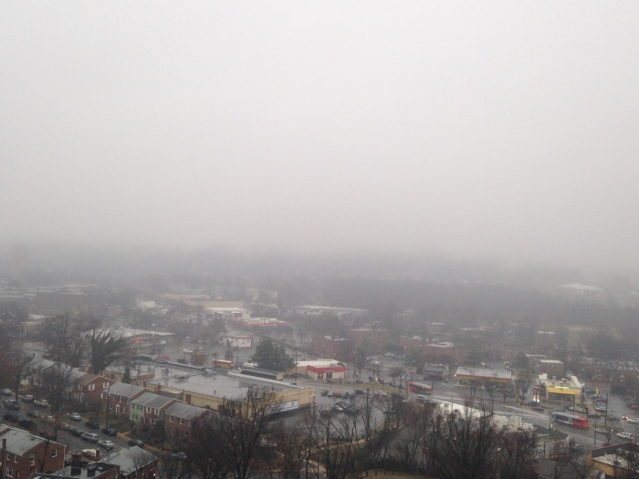 Cloudy, foggy view from my window. Very reminiscent of my fifth story apartment views in Chapinero back in the day.