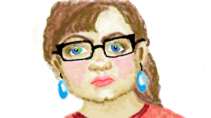 Windows Paint Self-portrait. This took me 3.5 hours, but I felt pretty proud of myself.