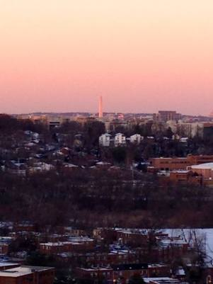 View from my apartment of the Washington Monument at Sunset
