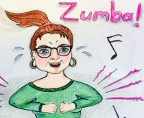 Me, at Zumba, shaking like a Polaroid picture and feeling very happy about it.