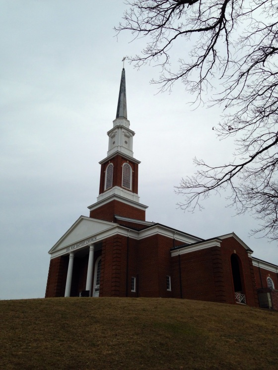 Del Ray Baptist Church, across the street from the Alexandria Country Day School.