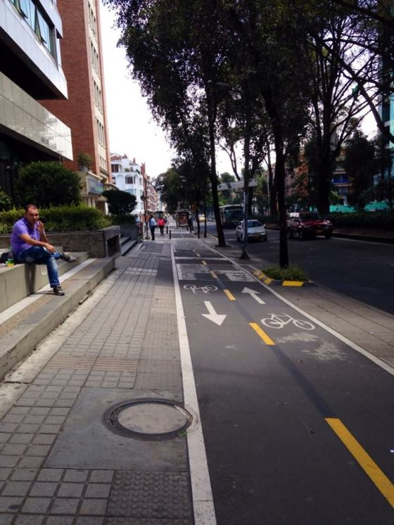 I really like Colombias bike system. Its not all over the city, but in some parts of the city, the bike lane is part of the sidewalk. Personally, Im terrified of city biking, so it would be great if D.C would adopt a similar city wide system.