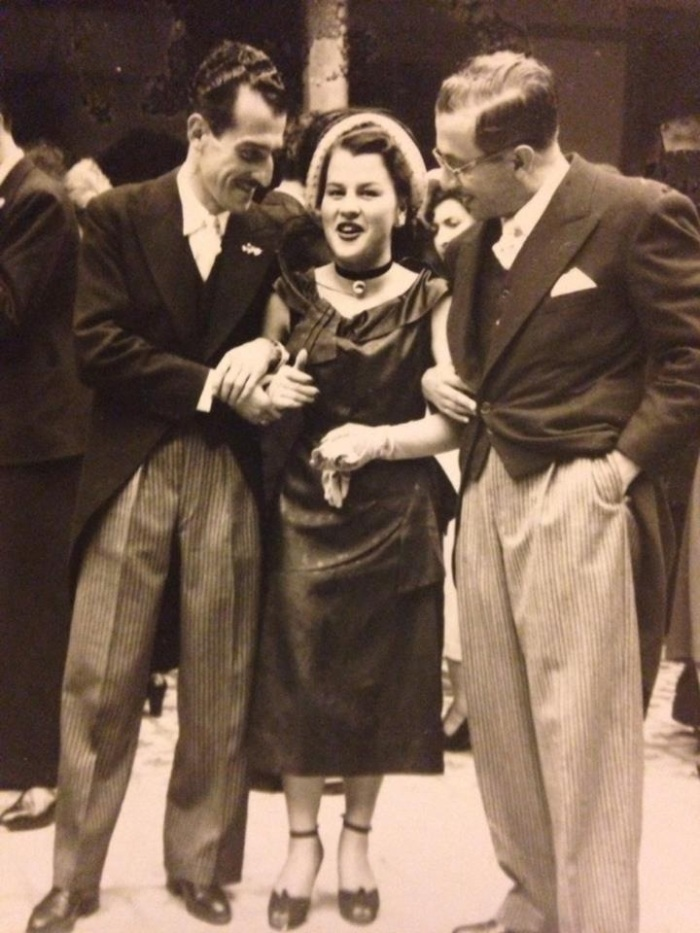 My grandmother proudly admits she was a flirt in her youth. This is her leaving a party in Bogotá in the late 1940s when she was 16 or 17. I love the puffy pantaloons type trousers these guys are wearing!