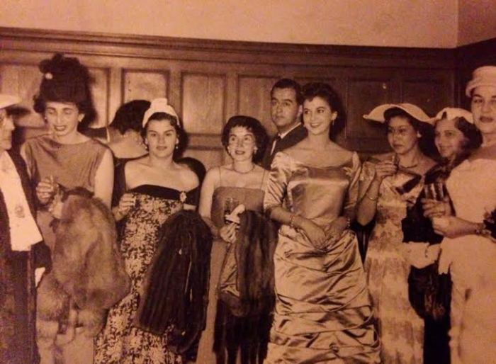 My grandmother at an embassy party in the early fifties.