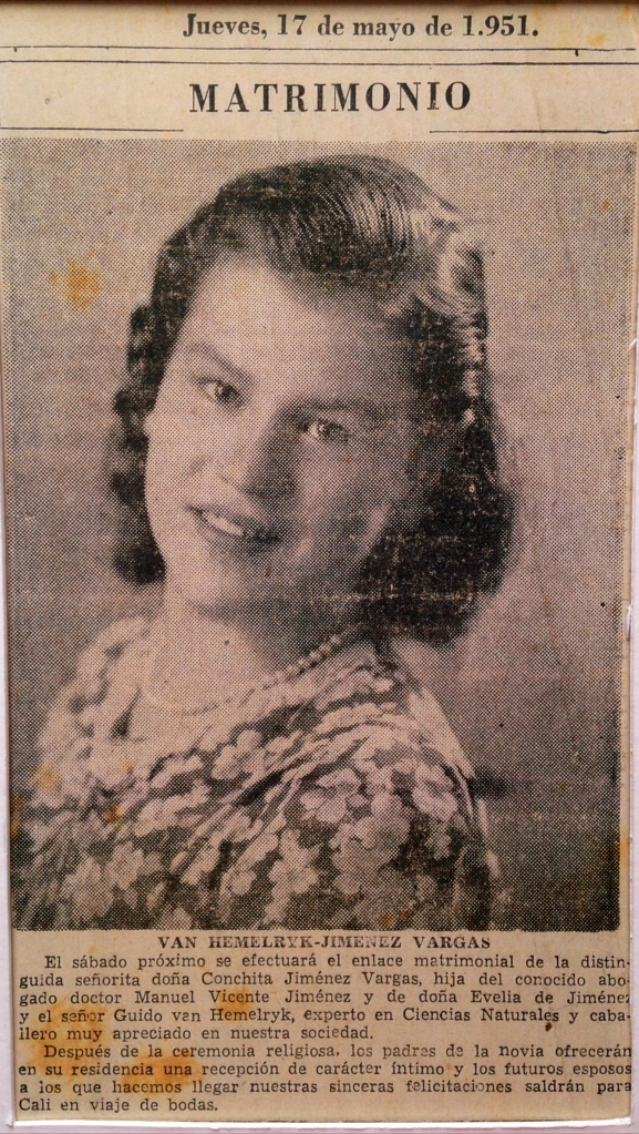 My grandmother's wedding announcement from May 1951. I'm not sure if this was published in El Tiempo or El Espectador.