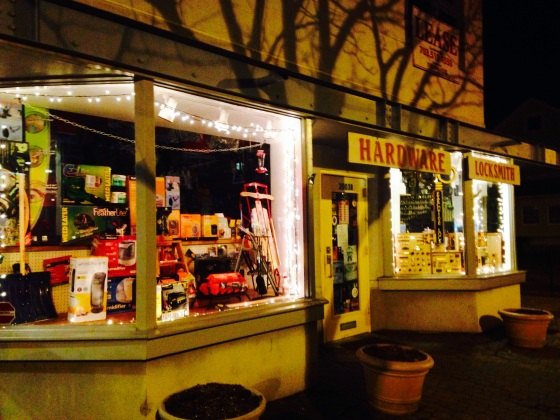 The hardware store at night.