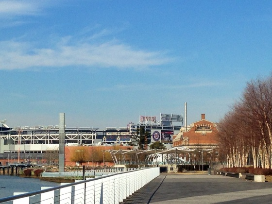 Towards the end of the Anacostia River Walk. You can see the National's Stadium here.