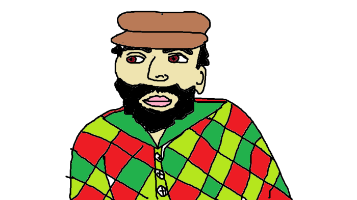 Calling all slightly artsy, Alaskan lumberjack-looking guys...I have terrible Microsoft paint skills though, and this dude turned out looking like a 1950s Latin American revolutionary in a bad Christmas shirt rather than like the kind of guy I might be interested in. Oops.