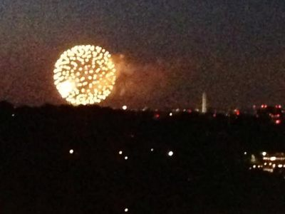 My lovely view of the fireworks from my balcony.
