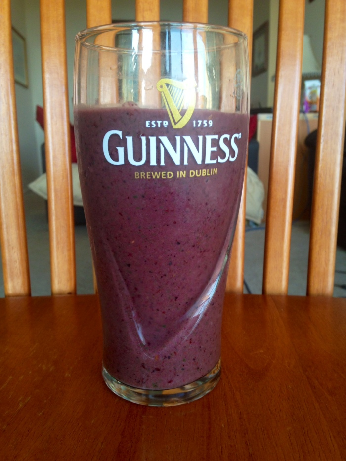 Spinach, kiwi, strawberry, blueberry, blackberry, raspberry, banana, probiotic yogurt, cinammon smoothie.