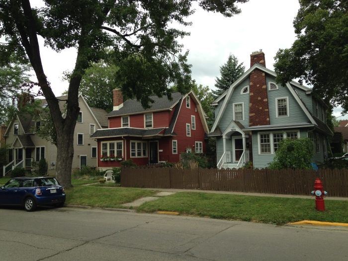 There are a lot of German/Scandinavian/Polish descendants in Wisconsin, so you see all kinds of cool houses. I've only lived in the suburbs in the U.S, so I found it very interesting to see so many unique and funky houses.  These look like barn houses to me.