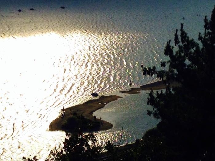A small sandy island in Devil's Lake.