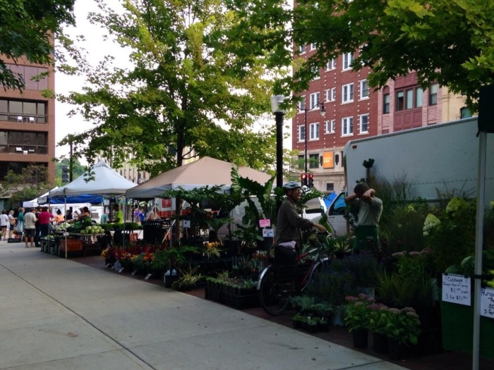 Madison has a really great farmer's market. The market follows the perimeter of the Wisconsin State Capitol (which looks very similar to the U.S Capitol) and you can find all kinds of fruits, vegetables, breads, pastries, deserts and, of course, cheeses.