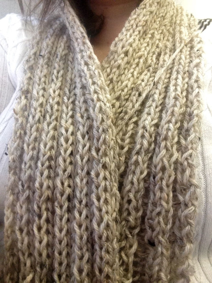 The only thing I know how to knit are scarves. I always intend to give them away as presents, but then I get too attached. I can already tell I won't be able to part with this one.
